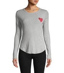 graphic heart long-sleeve cotton top