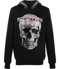 philipp plein crystal skull hoodie - black