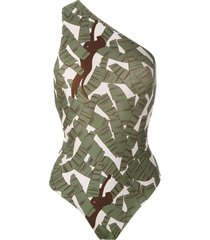 adriana degreas printed one shoulder swimsuit - green