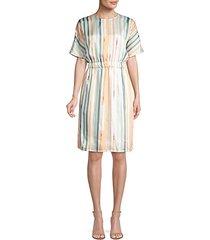 multi watercolor stripe dress