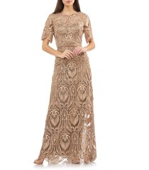 women's js collection illusion lace evening dress, size 14 - metallic