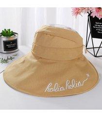 cartas al aire libre bordado de ala ancha sombrero para el sol algodón