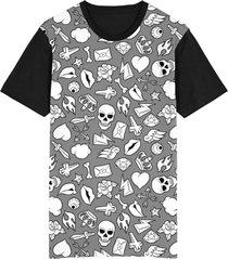 camiseta migian caveiras diamantes tattoo sublimada cinza