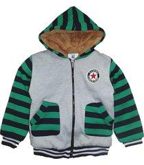 jaqueta casaco manabana infantil grossa com pelucia mochilinha - cinza/verde - algodã£o - dafiti