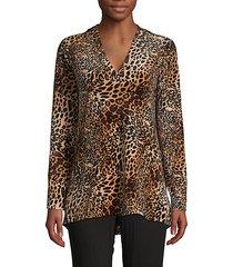 leopard-print long-sleeve top