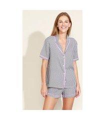 pijama feminino camisa estampado xadrez vichy com vivo contrastante manga curta preto
