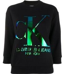 calvin klein jeans 3/4 sleeves logo sweatshirt - black
