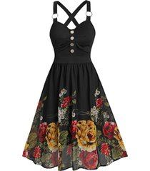 sleeveless flower print o-ring mock button dress