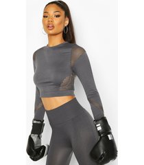 fit laser cut seam free long sleeve crop top, charcoal