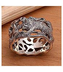 men's sterling silver band ring, 'monkey business' (indonesia)