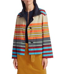 akris punto women's parasol striped jacket - night sky multicolor - size 8