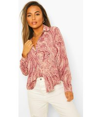 petite oversized marmerprint blouse, pink