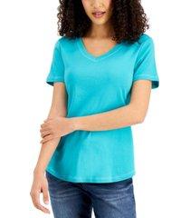 karen scott v-neck cotton t-shirt, created for macy's