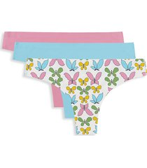 aqs women's 3-pack laser-bonded seamless thongs - blue pink multicolor - size l