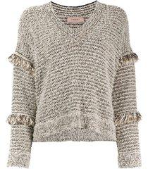 twin-set suéter com detalhe desfiado - neutro