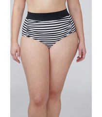 lane bryant women's ruched swim brief 26 minimal stripe