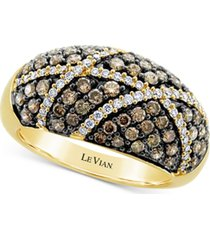 le vian chocolate diamond (1 ct. t.w.) & vanilla diamond (1/4 ct. t.w.) cluster statement ring in 14k gold