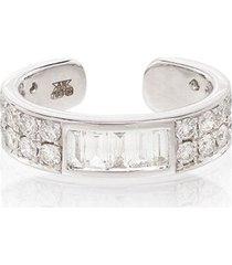 anita ko 18kt white gold baguette diamond ear cuff - silver