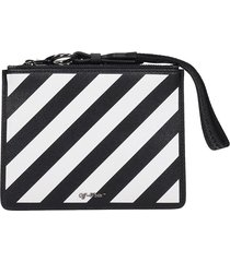 off-white diag pouch clutch in black leather