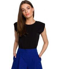 blouse style s260 mouwloze blouse met gewatteerde schouders - blauw