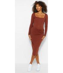 zwangerschaps geribbelde bodycon jurk met vierkante hals, chocolade