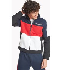tommy hilfiger men's regular fit essential zip sweatshirt jet black/red/white/navy - xs