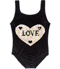 little girl's & girl's one-piece love sequin swimsuit