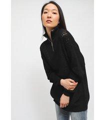 sweater io  liso chenille negro - calce holgado