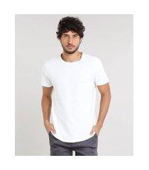 camiseta masculina slim fit flamê manga curta gola careca off white