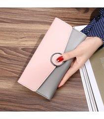 cartera moda mujeres- monedero de mujer largo párrafo-rosa