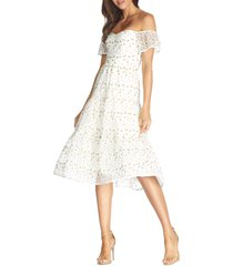 women's dress the population river embroidered floral off the shoulder dress