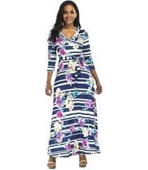 vestido largo de playa para mujer vestidos azules elegantes vestido ajustado de mujer bodycon longitud de cuello en v vestido floral estampado femenino maxi azul otoño