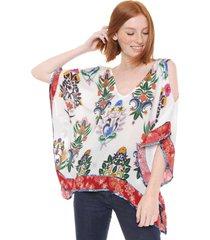 blusa desigual woven off shoulder branca/vermelha