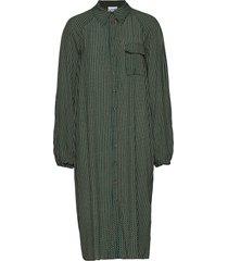 printed crepe shirt dress knälång klänning grön ganni