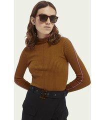 scotch & soda gebreide sweater met contrasterende biezen