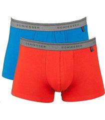 schiesser short 95-5 2-pak rood-blue