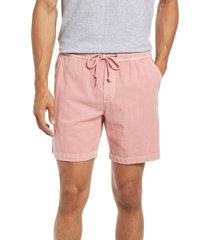 marine layer saturday beach cotton drawstring shorts, size large in dusty rose at nordstrom