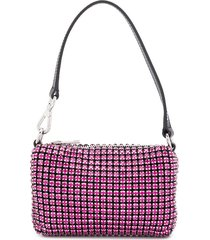 alexander wang chain mesh rhinestone pouch - pink