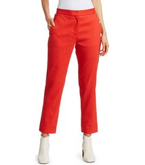 poppy linen-blend crop trousers
