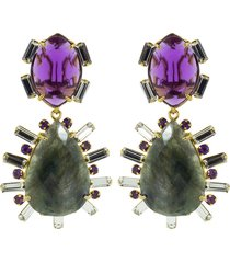 2-in-1 amethyst, green amethyst, and lemon quartz earrings