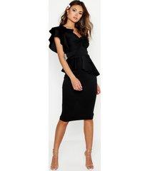 one shoulder twist front peplum midi dress, black