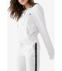 women's zip front logo hoodie