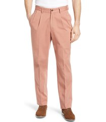 men's berle charleston pleated chino pants, size 33 - brown