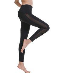 leggings deportivos negros de malla con parche de cintura alta