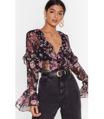 womens got it growing on floral ruffle blouse - black