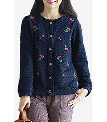casual button maniche lunghe giacca da ricamo per le donne