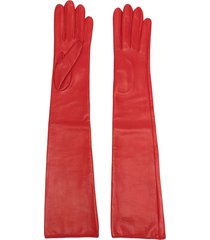 manokhi long-length leather gloves - red