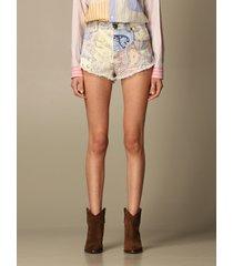 etro short etro paisley patterned denim shorts