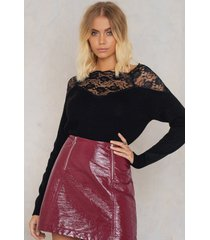 trendyol off shoulder lace sweater - black