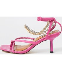 river island womens pink faux leather chain mid heel sandal